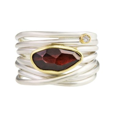 Margoni, Garnet & Diamond 18ct Yellow Gold & Silver Wide Wrap Ring, Tomfoolery