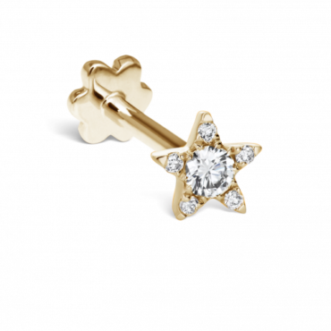 Maria Tash, Single 14ct & 18ct Yellow Gold Diamond Star Threaded Stud, Tomfoolery