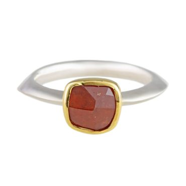 Margoni,  Irregular Square Orange Garnet 18ct Yellow Gold & Silver Ring, Tomfoolery