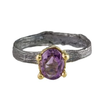 tomfoolery, eily o'connell, One Of A Kind Amethyst, Silver & Gold Engagement Ring