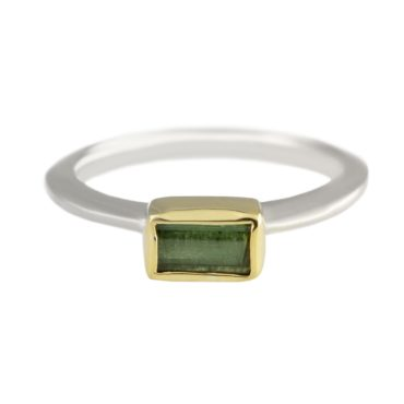Margoni, Rectangular Petite Green Tourmaline 18ct Yellow Gold & Silver Ring, Tomfoolery