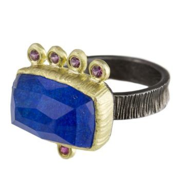 Maria Frantzi, Lapis Lazuli Doublet & Pink Sapphire 18ct Yellow Gold & Oxidised Silver Ring, Tomfoolery
