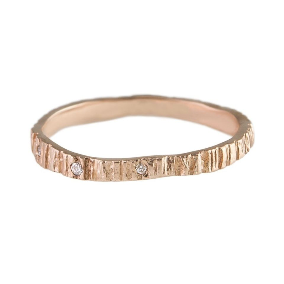 Eily o'connell, Bark 9ct Rose Gold Three Diamond Ring, tomfoolery