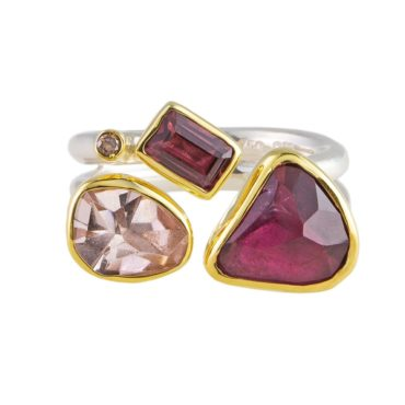 Margoni, Garnet, Morganite & Diamond 18ct Yellow Gold & Silver Ring, Tomfoolery