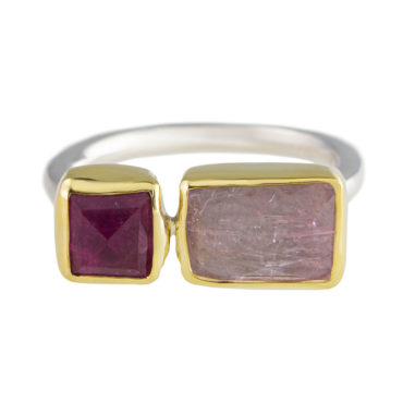 Margoni, Square Pink Tourmaline & Rectangle Morganite 18ct Yellow Gold & Silver Ring, Tomfoolery