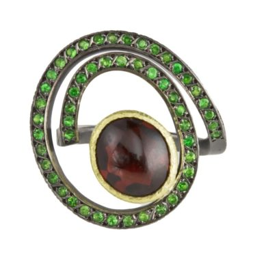 Maria Frantzi, Red & Green Garnet 18ct Yellow Gold & Oxidised Silver Ring, Tomfoolery