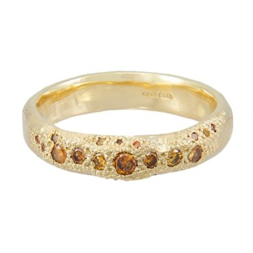 14ct Yellow Gold 'LXXVII' Orange Diamond Scatter Band, Ellis Mhairi Cameron, Tomfoolery