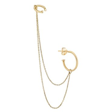 tomfoolery, Ear Cuff Double Chain Hoop, 9ct Yellow Gold