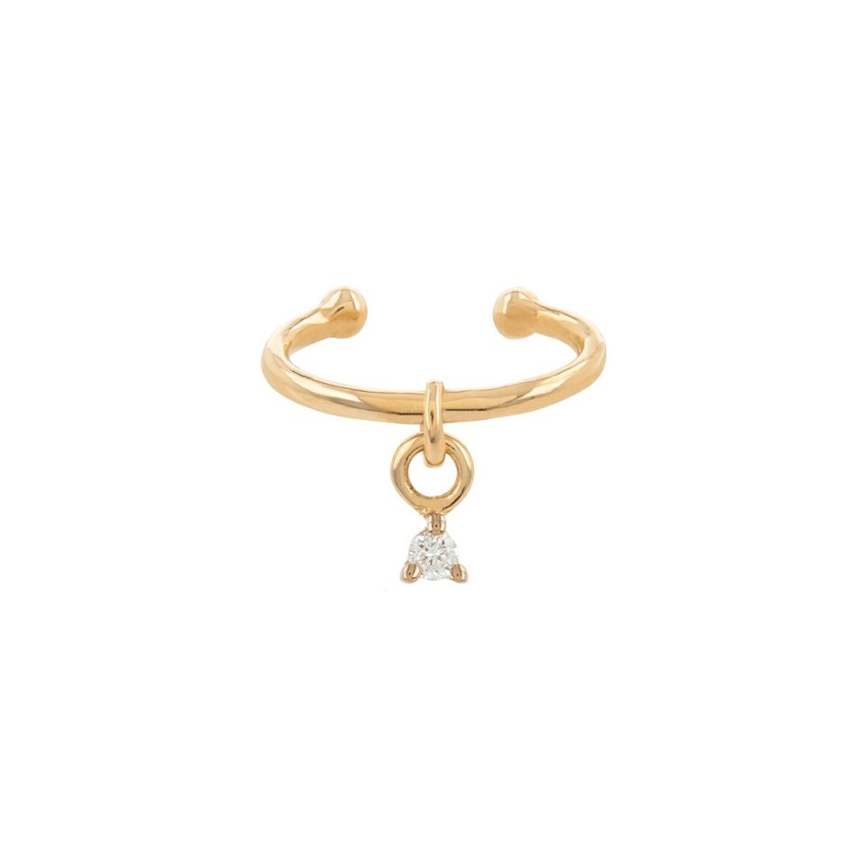 tomfoolery, Petite Diamond Plaque Ear Cuff, 9ct Yellow Gold