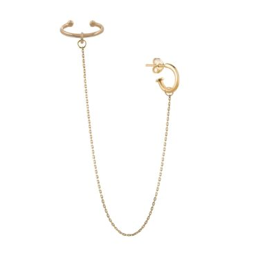 tomfoolery, Extra Long Chain Ear Cuff, 9ct Yellow Gold