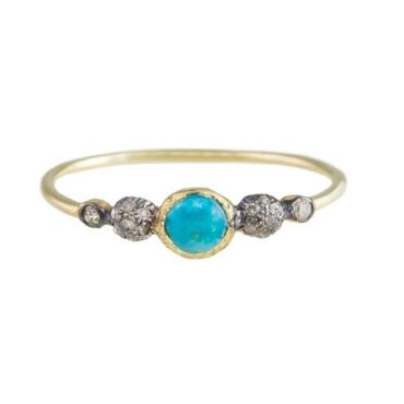 24k Gold-Plated Silver Turquoise & Diamond Gwen Ring