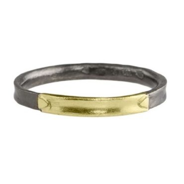 14ct Gold & Ruthenium Plated Silver YL Ring