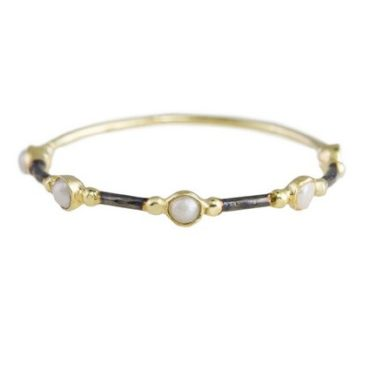 14k Gold & Ruthenium Plated Silver Pearl Sybil Ring