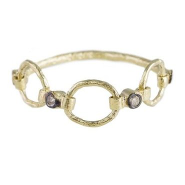 24ct Gold Plated Diamond Chain Belle Ring