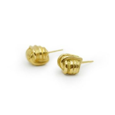 Marion Lebouteiller, Textured 18ct Yellow Gold Studs, Tomfoolery