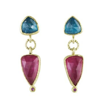 Maria Frantzi, Apatite & Pink Tourmaline Doublets with Sapphire 18ct Yellow Gold Drop Earrings, Tomfoolery