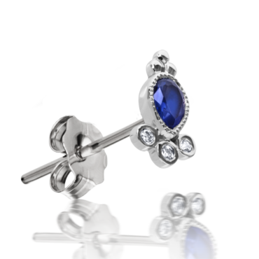 Maria Tash, Single 18ct White Gold Blue Sapphire & Diamond Delia Stud, Tomfoolery