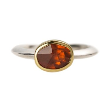 Margoni, Oval Orange Garnet 18ct Yellow Gold & Silver Ring, Tomfoolery