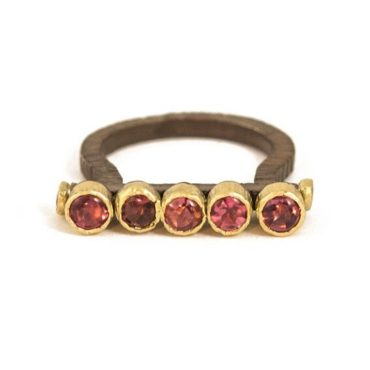 Maria Frantzi, Pink Tourmaline & Sapphire 18ct Yellow Gold & Oxidised Silver Bar Ring, Tomfoolery