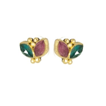 Maria Frantzi, Ruby & Apatite Doublet 18ct Yellow Gold Drop Earrings, Tomfoolery