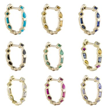 Small Mixed Cut Hoops by demi fine jewellery brand metier by tomfoolery. Available to shop online at www.tomfoolerylondon.co.uk.
