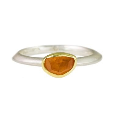 Margoni, Irregular Mandarine Garnet 18ct Yellow Gold & Silver Ring, Tomfoolery