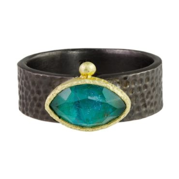 Maria Frantzi, Horizontal Chrysocolla Doublet 18ct Yellow Gold & Oxidised Silver Ring, Tomfoolery