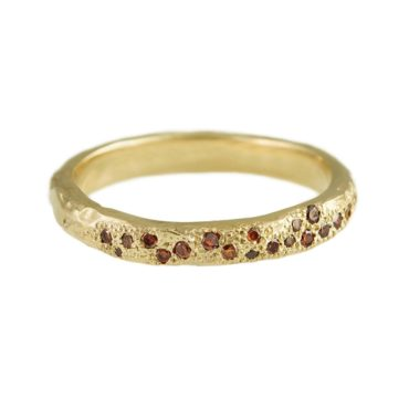 14ct Yellow Gold 'LXXVII' Cognac Diamond Scatter Band, Ellis Mhairi Cameron, Tomfoolery