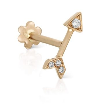 Maria Tash, Single 14ct & 18ct Yellow Gold Diamond Arrow Threaded Stud, Tomfoolery