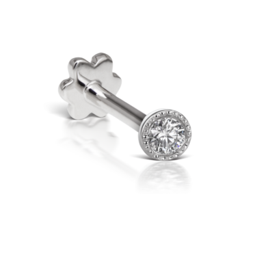 Maria Tash, Single 14ct White Gold Scalloped Diamond Threaded Stud, Tomfoolery