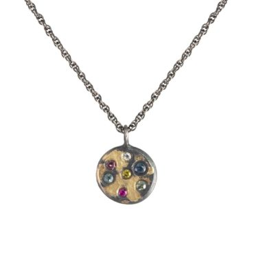Samantha Queen, Rainbow Diamonds Oxidised Silver and 18ct Gold Pendant Necklace, Tomfoolery