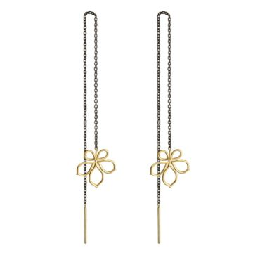 Atelier Errikos, Rhodium Plated Silver and 14ct Gold Wide Leaf Chain Drop Earrings, Tomfoolery