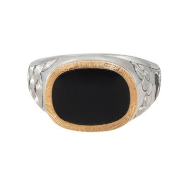 Maiden Voyage, tomfoolery, Silver and Gold Signet Onyx Ring