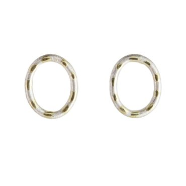 Samantha Queen, Polka Silver and 18ct Gold Oval Stud Earrings, Tomfoolery