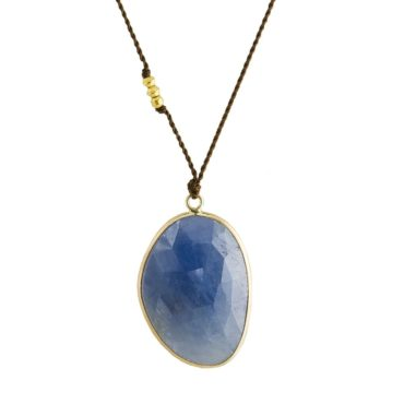 Margaret Solow, Oval Sapphire & 14ct Yellow Gold Cord Necklace, Tomfoolery