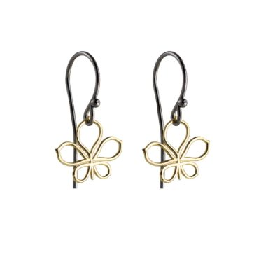Atelier Errikos, Rhodium Plated Silver and 14ct Gold Wide Leaf Hook Earrings, Tomfoolery