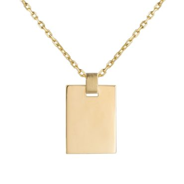 Tomfoolery; 9ct Yellow Gold Rectangle tag Pendant, Tableau