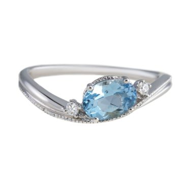 tf Collective, 18ct White Gold Aquamarine and Diamond 3 Stone Ring, Tomfoolery