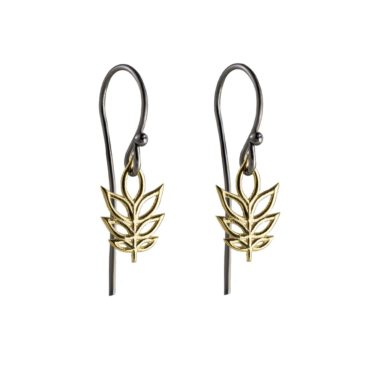 Atelier Errikos, Rhodium Plated Silver and 14ct Gold Tall Leaf Hook Earrings, Tomfoolery