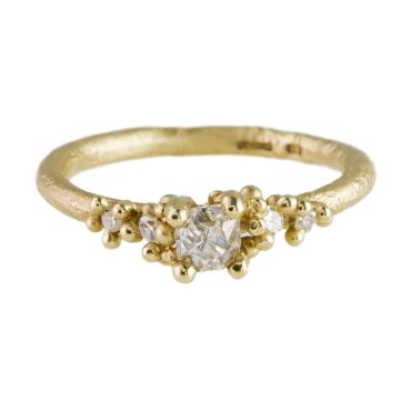 Ruth Tomlinson, 14ct Yellow Gold Solitaire Old Cut Diamond Encrusted Ring, tomfoolery