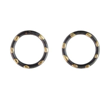 Samantha Queen, Polka Silver and 18ct Gold Circle Stud Earrings, Tomfoolery