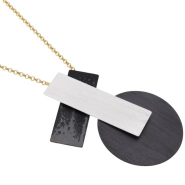 tomfoolery, Gold Chain Oxidised Silver Geometric Necklace, deco echo