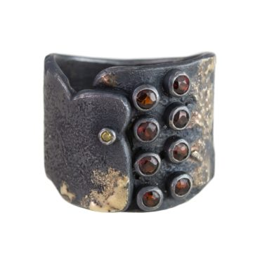 Samantha Queen, Statement Garnet and Oxidised Silver Solitaire 18ct Gold Ring, Tomfoolery