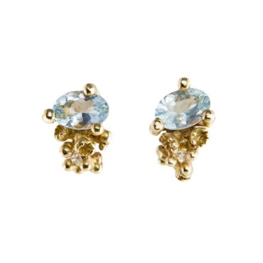 Ruth Tomlinson, 18ct Gold Sapphire and Diamond Studs, tomfoolery