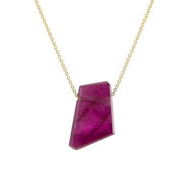 Margaret Solow, Pink Tourmaline Slice & 14ct Yellow Gold Pendant Necklace, Tomfoolery