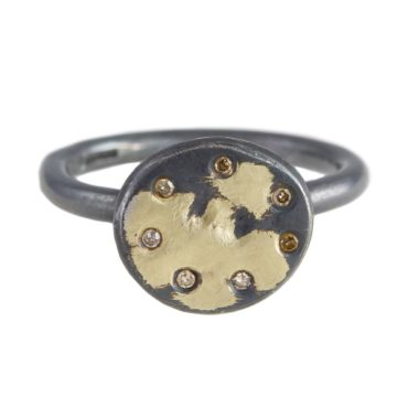 Samantha Queen, 7 Diamond and Oxidised Silver Solitaire 18ct Gold Ring, Tomfoolery