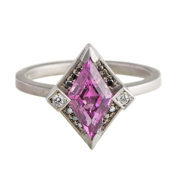 Muse by tomfoolery, 18ct White Gold Rhombus Magenta Garnet & Diamond Ring, tomfoolery