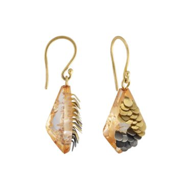 Emmeline Hastings, Murmur Acrylic Gold and Oxidised Silver Drop Earrings, Tomfoolery