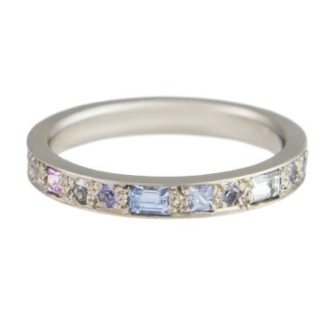 Muse by Tomfoolery, Mixed Cut Sapphire Puzzle Half Eternity Ring, tomfoolery