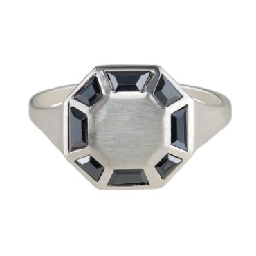 Tomfoolery; Silver Hematite Octagon Ring, Tableau